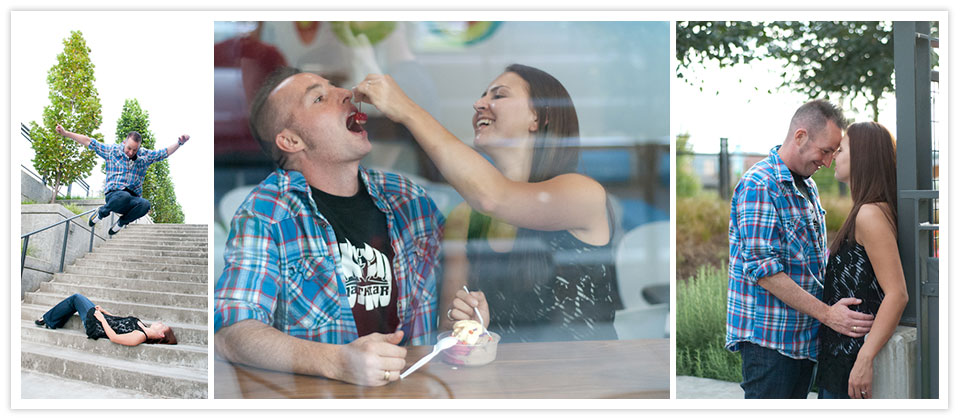 Tacoma Puyallup area engagement and wedding photographer tessadanielle.com. Fun at Elements Frozen Yogurt.